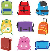 set of kids school bags isolated on white background ,cartoon style