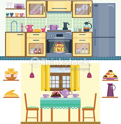 Set of kitchen and dining room interior vector art for Kitchen room cartoon images