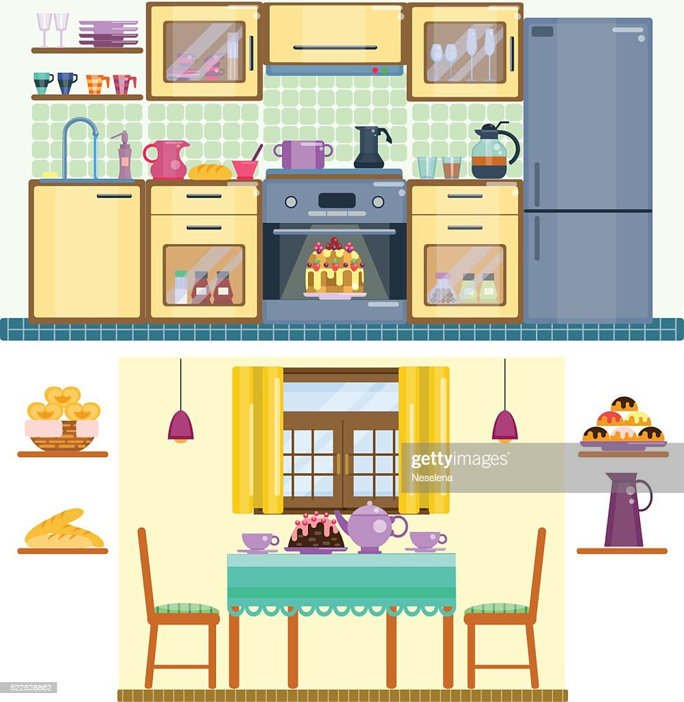 Set Of Kitchen And Dining Room Interior : Vector Art