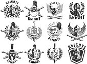 Set of knight emblems. Design elements for label, emblem, sign, badge. Vector illustration