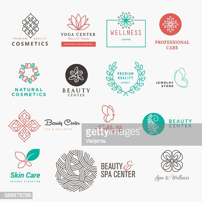 Set of labels and badges for beauty, cosmetics, spa and wellness : Arte vettoriale