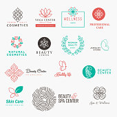 Set of labels and badges for beauty, cosmetics, spa and wellness. Flat design vector illustration concepts for graphic and web design.