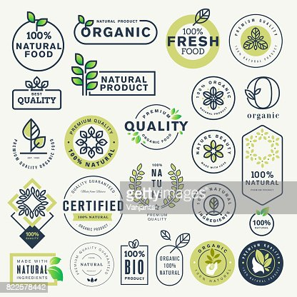 Set of labels and stickers for organic food and drink, and natural products : Vector Art