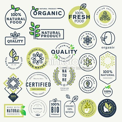 Set of labels and stickers for organic food and drink, and natural products : stock vector