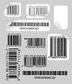 Set of various labels with bar codes on grey background
