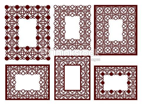 Eingestellt Von Lacy Frames Mit Geschnitzten Durchbrochene Muster ...