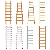 Set of various ladders on the white background.