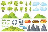 Set of landscape elements trees houses hills road rocks mountains grass flowers clouds river Vector illustration