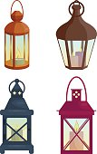 Set of  lanterns. Vector illustration. Cartoon style. Elements for new year and christmas cards