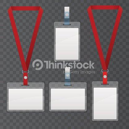Set Of Lanyard And Badge Template Plastic Badge Identification Set - Lanyard template