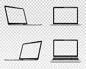 Set of laptop with transparent screen. Perspective, top and front view. Vector illustration EPS10.