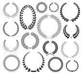 Set of Laurel Wreaths. Vector illustration.