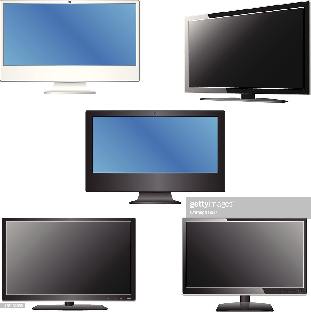 Set of LCD / LED TV Vector Illustration. : Vector Art