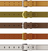 Set of leather belts on a white background
