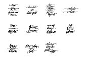 Set of lettering phrases for bedroom posters. Vector illustration.