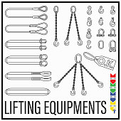 Set of lifting gears and lifting equipments line icons style in new modern simple design.