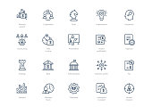 Set of line business icons isolated on light background. Contains such icons Administration, Tax, Strategy, Cooperation, Teamwork and more.