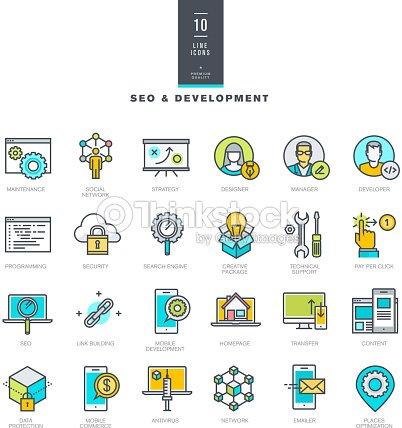 Conjunto De Iconos De Colores De Línea De Seo Y Desarrollo Web Arte ...