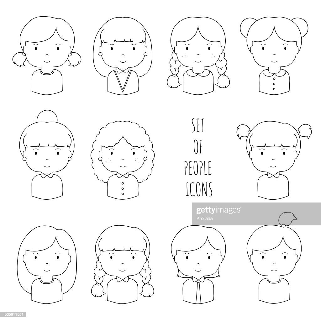 Set of line female faces icons. : Vector Art