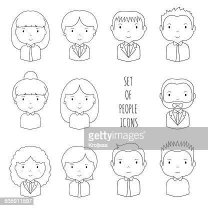 Conjunto de silueta de oficina de iconos de personas. Hombre de negocios. Mujer de negocios. : Arte vectorial