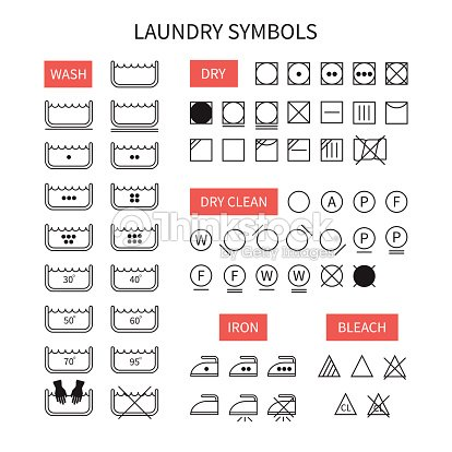 Set Of Line Simple Washing Instruction Symbols Laundry Icons Vector Art