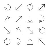Set of arrows and pointers of various forms of thin lines, vector illustration.