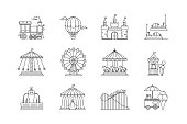 Set of linear park icons vector flat elements. Amusement park objects isolated on white background. Park with ferris wheel, circus, carousel, attractions