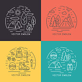 Line vector illustration. Outdoor, travel, adventure concept.