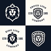 Set of Lion logo templates, for your business, collection of symbols to convey idea of strength power pride honour  guard security heritage and traditions