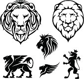 Set of heraldry lion head and design elements,black colored.ZIP contain EPS8, AI12cs2 ,PDF and JPEG files.