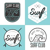 Set of logo, badges, banners, emblem and elements for surf club - Vector illustration