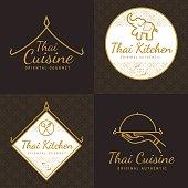 Set of golden color Thai food logo, badges, banners, emblem for asian food restaurant with thai pattern - Vector illustration.