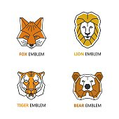 Set of logo design templates in linear geometric style - fox, tiger, bear and fox heads - wild animal icon collection.