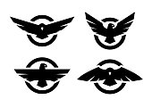 Set of logos with an eagle silhouette. Vector illustration.