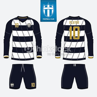 Set of long sleeve soccer jersey or football kit template for football club.  Football shirt mock up. Front and back view soccer uniform. Flat football  logo ... 397077c0b