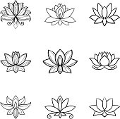 Set of lotus flower icons. Spa sign. Yoga design