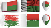 set of madagascar flags collection isolated on white