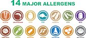 set of 14 allergens free icons on white background