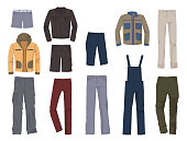 Set of male clothing, denim and casual, jeans, jackets, pants and etc., isolated on white background.