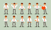Big set of a businessman with a variety of emotions and poses. Vector cartoon illustration