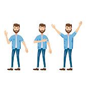 Set of male facial emotions. Bearded man emoji character with different expressions poses. Vector illustration