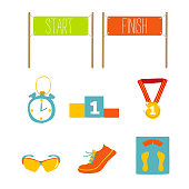 Set of marathon flat icon design, vector illustration.