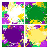 Set of Mardi Gras cards. Hand drawn Fat Tuesday backgrounds. Artistic colorful banners. Trendy abstract design.