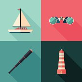 Sun Sea Summer. Colorful flat icons.