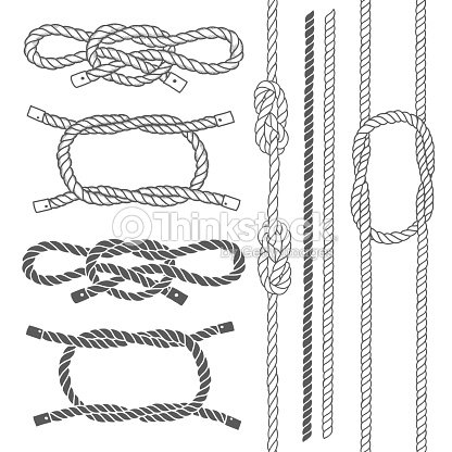 Set Of Marine Rope Knots Vector Elements stock vector