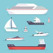 Set of marine ships, boats, yachts and sailing tanker. Marine buoy. Vector, illustration in flat style isolated on blue background EPS10