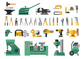 Big flat icon collection of hand tools and power electric machines for metal work factory process.