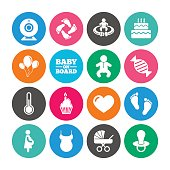 Set of Maternity, Pregnancy and Baby care icons. Video monitoring, Child and Pacifier signs. Footprint, Birthday cake and Newborn symbols. Colored circle buttons with flat signs. Vector