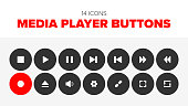 Collection of 14 round media player vectors.