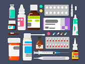 Set of medicines. Means from illnesses. Tablets a thermometer, a syringe and ampoules. Vector illustration in a flat style
